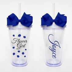 Flower Girl with Name - Acrylic Tumbler Personalized Cup