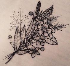 blumenranke tätowieren, schwarz graue tätowierung, kleine tattoos