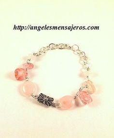 pulsera de cuarzo rosa-pulsera en rosa cuarzo-pulsera en cuarzo rosa-brazalete en amatista-joyeria con cuarzo rosa-joyas en amatista-rose quartz bracelet- brazalete en rosa cuarzo