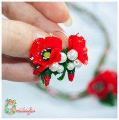 Sample sale fabric flower veterans day fabric poppy poppy corsage poppy jewelry poppy jewelry set poppy earrings by orxideykastudio mightylinksfo