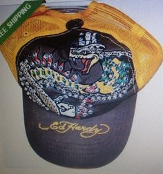 Ed Hardy is all about fun rhinestone hats and shirts. Madonna wears Ed Hardy hats and you can find a lot of used Ed Hardy hats on eBay. This is a snake! Very loud but fun. I like it.