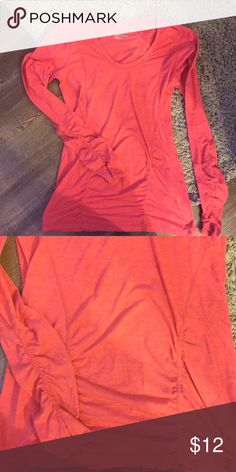 Coral Long-sleeve Workout Tee Long sleeve coral Zella tee. Only worn once and ended up being a little tighter than I like. Perfect for yoga, running, cycling, etc. Zella Tops Tees - Long Sleeve