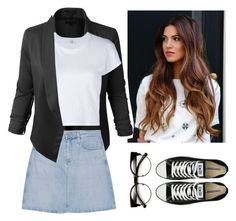 """""""nerdy"""" by nerdgirl070 ❤ liked on Polyvore featuring LE3NO, AG Adriano Goldschmied, RE/DONE and Converse"""