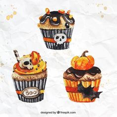 New Cupcakes Drawing Creepy Ideas Halloween Designs, Halloween Drawings, Halloween Painting, Halloween Crafts, Happy Halloween, Halloween Decorations, Halloween Illustration, Cute Illustration, Halloween Cupcakes