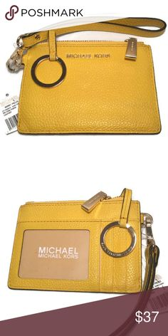 8d97028b2b13 MICHAEL Kors SM Coin Purse Sunflower Gold NWT and Adorable! Genuine pebbled  leather