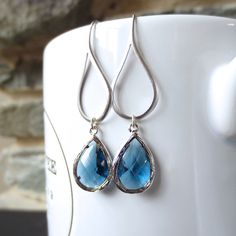 Sparkle Drop - Dangle Silver Earrings, Dangle, Sapphire Blue Faceted Dangle, Silver Drop  - Bridesmaid gift,Wedding jewelry