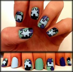Puzzle Nail art design in mint purple periwinkle black check out www.ThePolishObsessed.com for more nail art ideas.