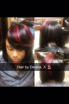 Sew in bob with red strip