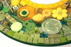 Found Object Mosaic Art Mirror LEMON LIME SUBLIME Green Yellow Collage Assemblage. $70.00, via Etsy.