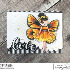 www.stampingbella.com: rubber stamp used : Tiny Townie butterfly girl Blanche card by Stephen Kropf