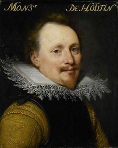 anoniem | Portrait of Willem de Soete de Laeke, Lord of Hautain, workshop of Jan Antonisz van Ravesteyn, c. 1609 - c. 1633 | Portret van Willem de Zoete de Laeke (?-1637), heer van Hautain. Buste naar rechts. Onderdeel van de reeks portretten afkomstig uit het Stadhouderlijk Hof te Leeuwarden.