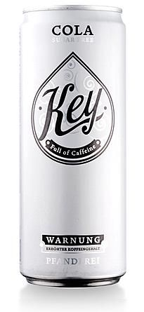 "Key Cola. Nice Packaging by ""Sugar for All"" - Funs Kurstjens, a graphic designer from Germany (Rosenheim). #packaging #white #can 