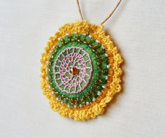 Embroidered beaded necklace mothers day lace green by LenteJulcsi, $15.00