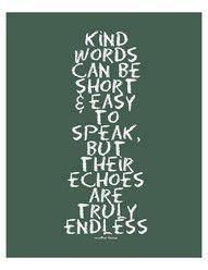 kind words can be short & easy..