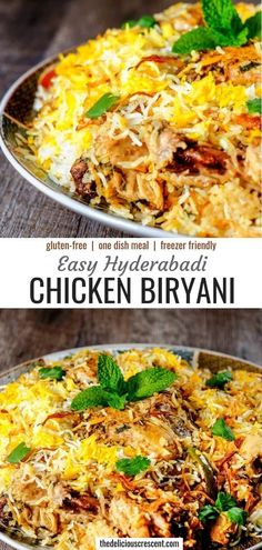 Hyderabadi chicken biryani is an aromatic, mouth watering and authentic Indian dish with succulent chicken in layers of fluffy rice, fragrant spices and caramelized onions. It is easier than most recipes while truly retaining the authentic taste and presented step by step. Cook like a native but with more ease! It is gluten free and freezer friendly. #chicken #Indianrecipe via @TDCrescent
