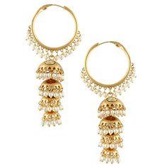 Kundan golden bali hoop jhumka jhumki pearl earringSAEA0938WH * See this great product.