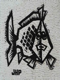 Here's a mosaic quick sketch, illustrating in black and white natural tiles a fish drawing. Fully handcrafted using natural and hand-cut tiles. , Get it now for $230.