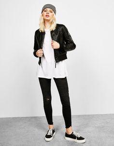 Leather-effect bomber jacket - null - Bershka Qatar