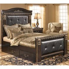 Signature Design by Ashley Coal Creek Queen Upholstered Bed with Under Bed Storage