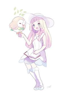 Pokemon SM fanart - Lillie and Rowlet Pokemon Alola, Pokemon Pocket, Pokemon People, Pokemon Games, Cute Pokemon, Aloha Pokemon, Pokemon Waifu, Pokemon Stuff, Real Manga