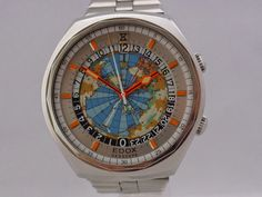 Large Vintage Watches: Edox Geoscope GMT WorldTimer