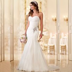 Mermaid Chiffon Beach Wedding Dresses At Bling Bries Bouquet - Online Bridal Store  #BlingBridesBouquet