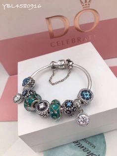 pandora bangle bracelet with 9pcs charming charms