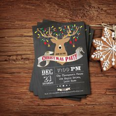 Printable Retro Christmas Party Chalkboard Invitation. Xmas dinner or cocktail party. Reindeer silhouette, ornament digital file. Invite. on Etsy, $12.00