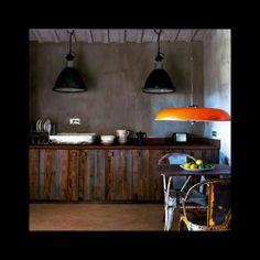 industrial pendant lights + vintage tolix chairs