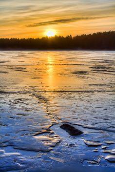 Frozen lake, Vastra Gotaland, Sweden