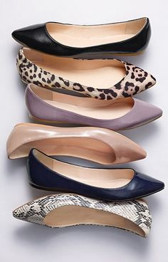 Flats in all the right finishes. love flats, may have to find some pointed toe ones one of these days.