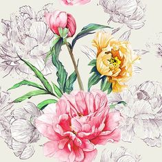 Watercolour Peonies #patternbank  #newonpatternbank #watercolour  #peonies #womenswear  #floral…