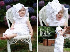 Christening Baptismal Gown for Babies Dress Booties Beret and Bonnet Crochet Pattern by IraRott