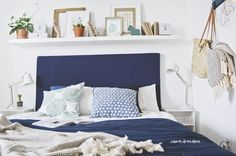 white interior, bedroom, diy, cabinet, blue and white, plants
