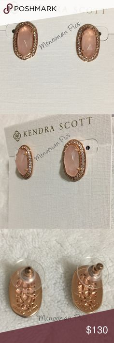 """Kendra Scott Rose Quartz CZ Pave Elaine Earrings NEW WITHOUT TAGS Authentic Kendra Scott Rose Quartz Rose gold CZ Pave Elaine Stud Earrings  (Matching LUX Elisa necklace also available for purchase) • Includes gift box, dust bag, care card and gift tag • Rose Gold Plated Brass • Size: 0.75"""" L x 0.5""""W on post • Material: Rose Quartz with Cubic Zirconia Crystal Pave  🎀I have more KENDRA SCOTT, Check out my other items!  ❤ LIKE ME IN FACEBOOK @MarianTNoonan Kendra Scott Jewelry Earrings"""
