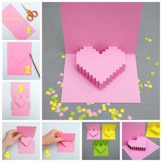 Creative Ideas - DIY Pixel Heart Popup Card | iCreativeIdeas.com Follow Us on Facebook ==> www.facebook.com/iCreativeIdeas