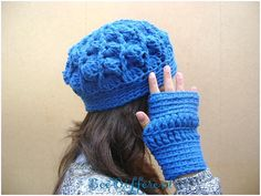 Set Blue oil Beret/Fingerless Chunky Spiral Hat 4 by BeeDifferent1, $30.00