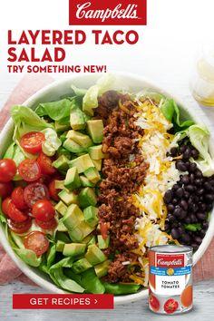 Taco Salad Recipes, Healthy Salad Recipes, Mexican Food Recipes, Beef Recipes, Healthy Snacks, Vegetarian Recipes, Dinner Recipes, Great Recipes, Healthy Eating