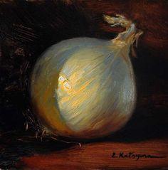 """""""White Onion"""" - Original Fine Art for Sale - © Elena Katsyura"""