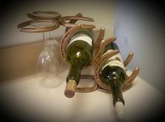 Horseshoe Wine Bottle Rack and Glass by Luckystarirondesigns