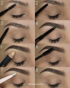 TheBeautyElite ⚡️ to fill in ⚡️ Pro Pencil as highlight ⚡️Tweezers ⚡️ Clear Brow Gel to set ausformung bemalung maquillaje makeup shaping maquillage Eyebrow Makeup Tips, Skin Makeup, Makeup Eyebrows, How To Do Eyebrows, Eyebrow Tinting, Makeup Application, Eyebrows Grow, Eye Brows, Eyebrow Pencil