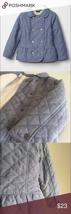 Baby GAP Warmest Quilted Lined Denim Coat Baby GAP Warmest Quilted Denim Coat. Sherpa lined. Snap button closure. Peplum hem. Gently used and in Excellent Condition. GAP Jackets & Coats
