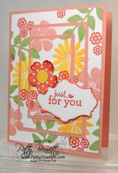 New Cantaloupe Crisp In Color on Triple Layer Stamping Technique card
