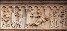 Wiligelmo. Creation and Fall, West facade, Modena Cathedral. Emilia, Italy. Building begun 1099; sculpture c. 1099. Height approx. 3'.