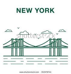 Brooklyn bridge illustration made in line art style. New York city landmark