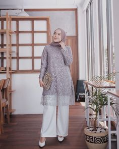 @ashryrrabani Hijab Gown, Hijab Dress Party, Hijab Style Dress, Casual Hijab Outfit, Kebaya Modern Hijab, Kebaya Hijab, Kebaya Dress, Dress Brokat Muslim, Kebaya Muslim
