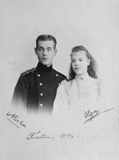 Grand Duke Michael Alexandrovitch and Grand Duchess Olga Alexandrovna of Russia, at La Turbie, 1896. | Royal Collection Trust