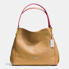 Coach Edie Shoulder Bag 31 ($350) ❤ liked on Polyvore featuring bags, handbags, shoulder bags, slouchy handbags, pocket purse, pebbled leather handbags, slouch handbags and slouch shoulder bag