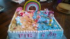 Kitty-kage til min datters 5 års fødselsdag ❤. Hun ønskede sig en kage med kitty, strand og regnbue