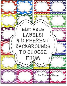Editable Labels for use in the classroom. Great to use to label book bins, supplies, name tags and many more uses.  Choose from 4 different patterns: Chevron, large dots, small dots and Chevron wavy.  Bonus: rainbow freebie pattern included!  If you need a specific color scheme, let me know and I can create it for you!  I hope you enjoy this product and find it useful.  If you decide to use it, please leave feedback and you'll receive TpT credit!  Thanks and enjoy!  This is in Powerpoint =)
